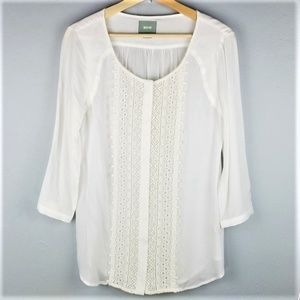 Anthropologie Maeve White Lace Front Blouse Top